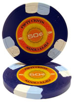 50 cent InPlay Clay poker chip