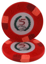 $5 Modern Clay Poker Chip