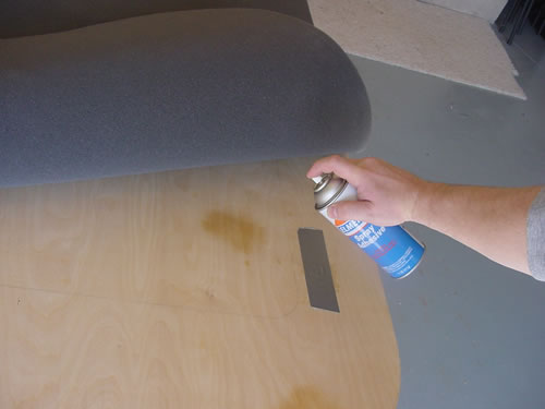 Spray on adhesive holds the poker table foam