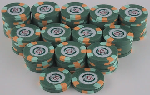Stack of 100 Modern Clay Poker Chips